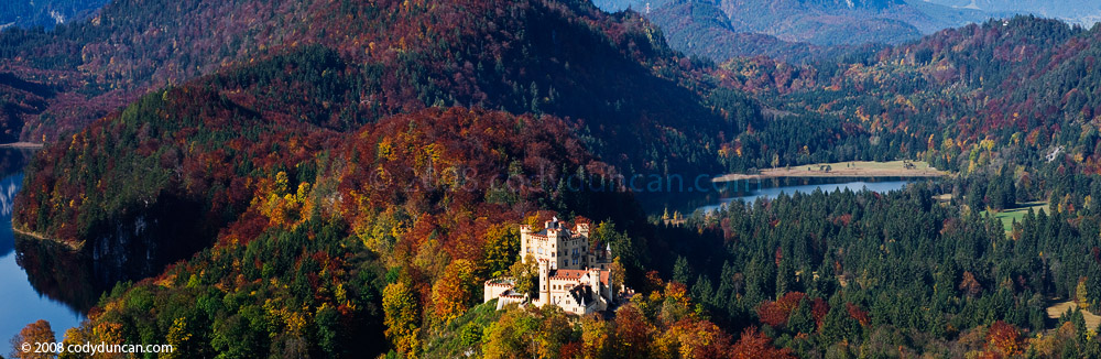 Germany stock panoramic photography: Hohenschwangau castle in autumn, Bavaria, Germany. Cody Duncan Photography