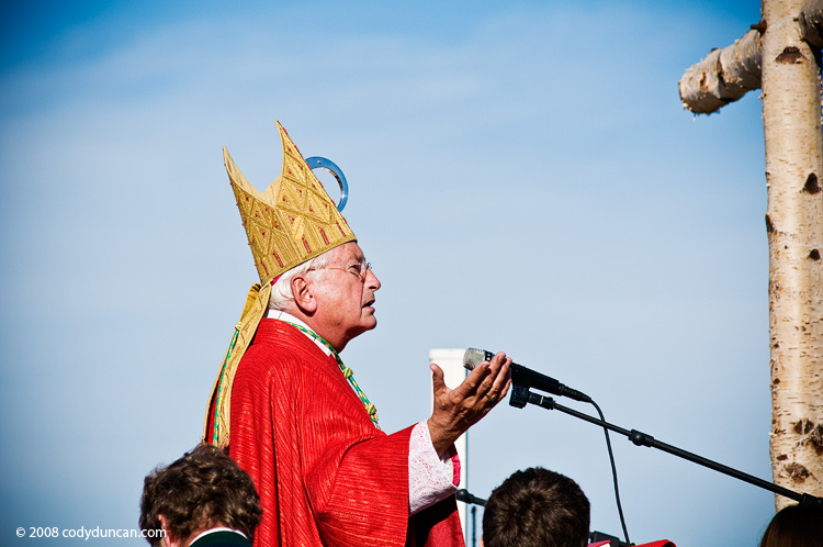 Germany Travel photography: October 12, 2008 Catholic Bishop speaks at Saint Coloman Festival, Schwangau, Bavaria, Germany
