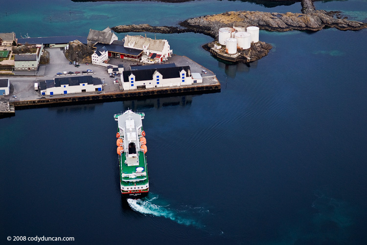 Lofoten travel photo: Hurtigurten coastal ferry arriving at port in Stamsund, Lofoten Islands, Norway. Cody Ducnan Photography