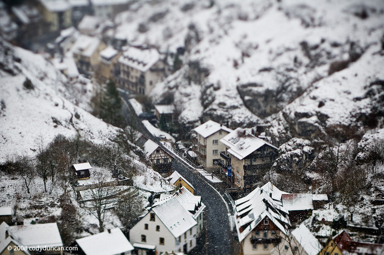 German travel stock photo: Germany, Bavaria, Franconia, Pottenstein in early winter snow storm.  Cody Duncan Photography