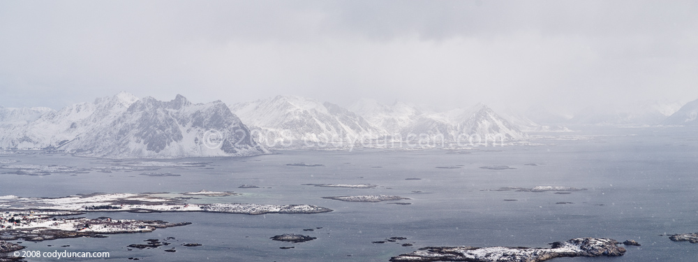 Lofoten travel photo: Spring snow storm over Stamsund and Lofoten islands, Norway. Cody Duncan photography