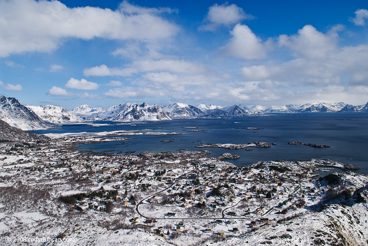 Lofoten travel photo: Fresh spring snow covers Stamsund, Lofoten islands, Norway. Cody Duncan photography
