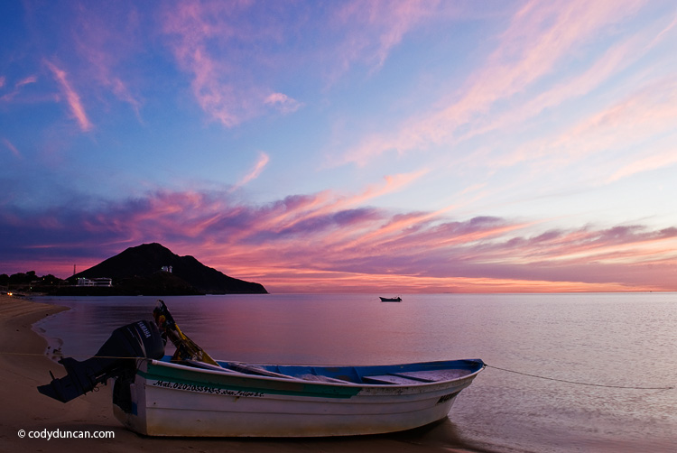 Travel stock photo: fishing boat on beach at sunrise, San Felipe, Baja California, Mexico