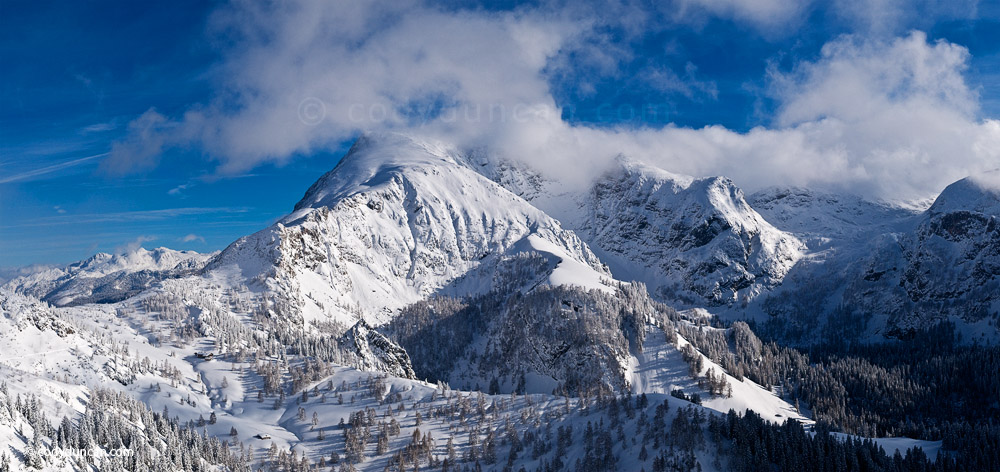 Panoramic stock photo: snowy mountain view of Berchtesgaden national park from Jenner, Bavaria, Germany. Cody Duncan Photography
