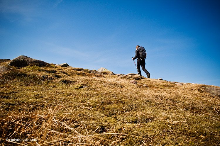 travel lifestyle stock image: Female hiker in alpine terrain of Cairngorm mountains, Scotland