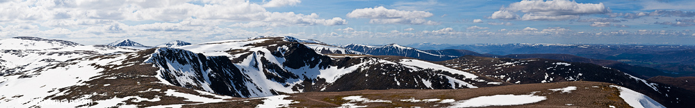 Panoramic landscape stock photography: Cairngorm mountains with spring snow, Cairngorms, Scotland
