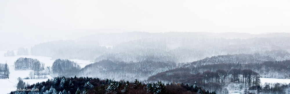 Panoramic stock photography: snowy winter landscape, Bavaria, Germany