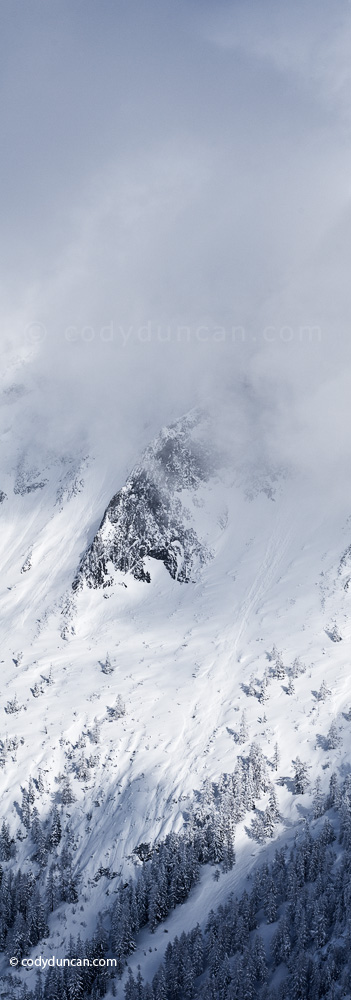 German panoramic stock photo: Winter storm over mountains of Berchtesgaden national park, Bavaria, Germany