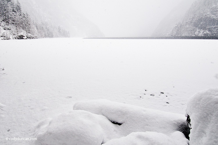 Germany travel stock photo: Winter snowstorm over Koenigsee, Berchtesgaden national park, Germany