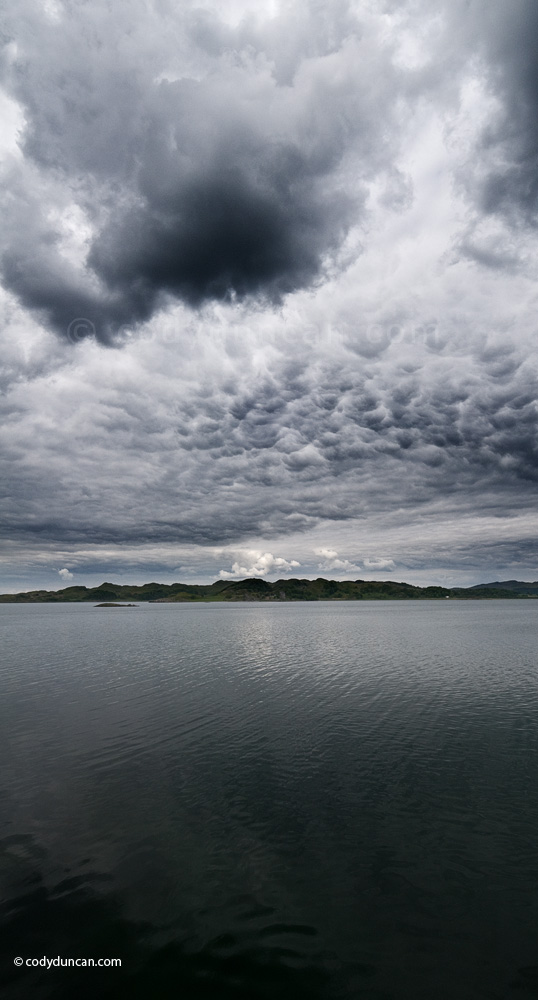 Scotland panoramic stock photo: stormy sky over Loch Crinan, Argyll and Bute, West coast, Scotland