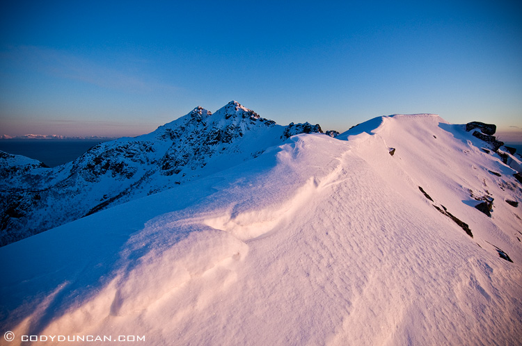 Lofoten islands winter mountain scenic photo: Steinstind peak at sunset, Stamsund, Vestvagoy, lofoten islands, Norway