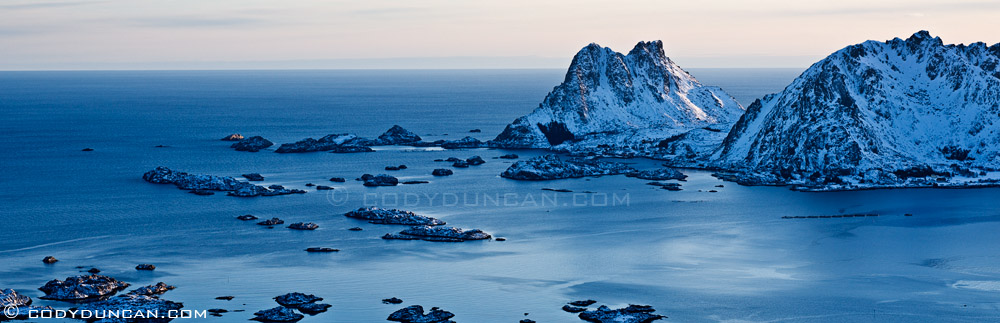 panoraic photo: village of Ure and Vestfjord, Lofoten islands, Norway