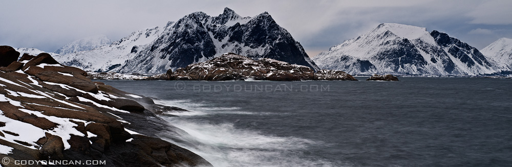Nikon 85mm tilt-shift lens panoramic: stormy sea, Lofoten islands, Norway