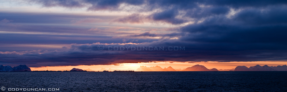 Panoramic photo: sunrise across Vestfjorden, Stamsund, Lofoten islands, Norway