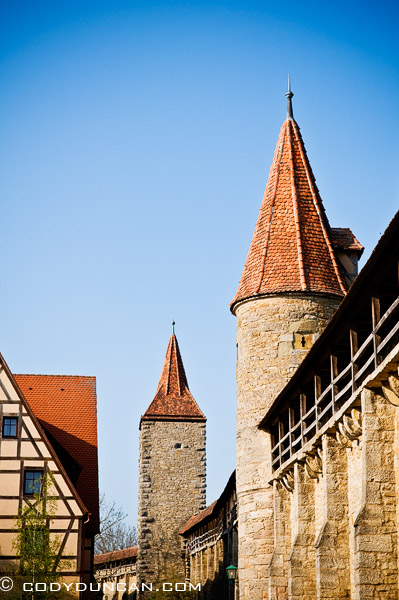 HIstoric city Wall and guard towers, Rothenburg ob der Tauber, Franconia, Bavaria, Germany