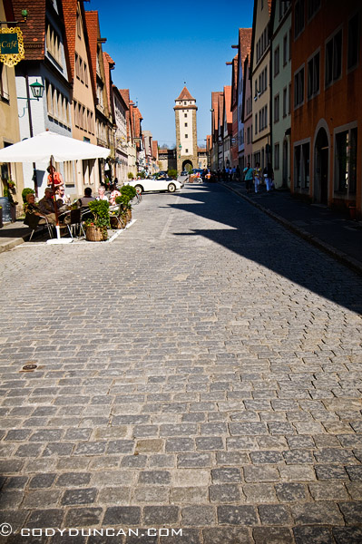 Cobble stone street, Rothenburg ob der Tauber, Franconia, Bavaria, Germany