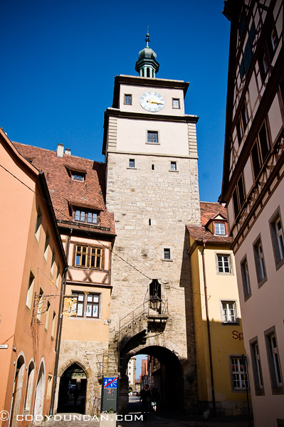Historic stone tower, Rothenburg ob der Tauber, Franconia, Bavaria, Germany