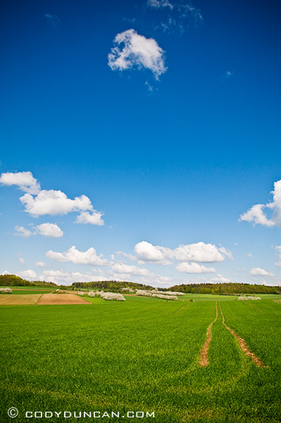 Germany travel stock photography:  farm field in spring, Franconia, Bavaria, Germany
