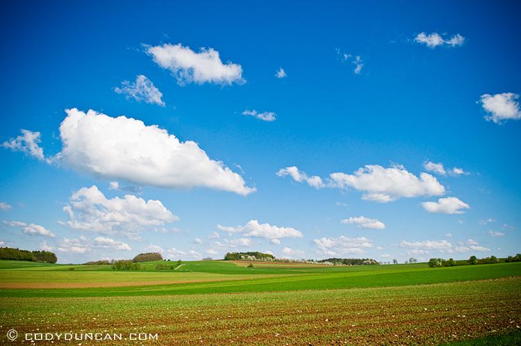 Germany travel stock photography:  farm field in spring, Franconia, Bavaria, Germany