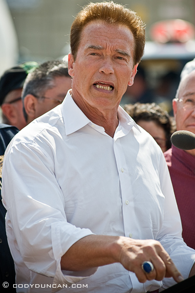 Thursday May 7, 2009: Governor Arnold Schwarzenegger press conference on Jesusita Fire, Santa Barbara, California