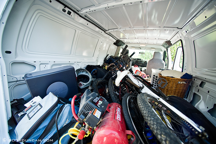 Van packed for mandatory evacuation from Jesusita fire, Santa Barbara, CA. May 5, 2009