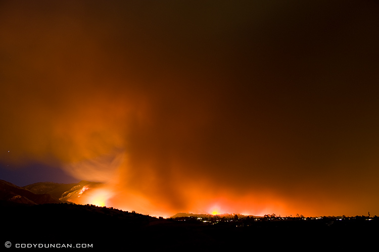 Jesusita fire burns in foothills above Santa Barbara, California. Thursday night, May 7, 2009