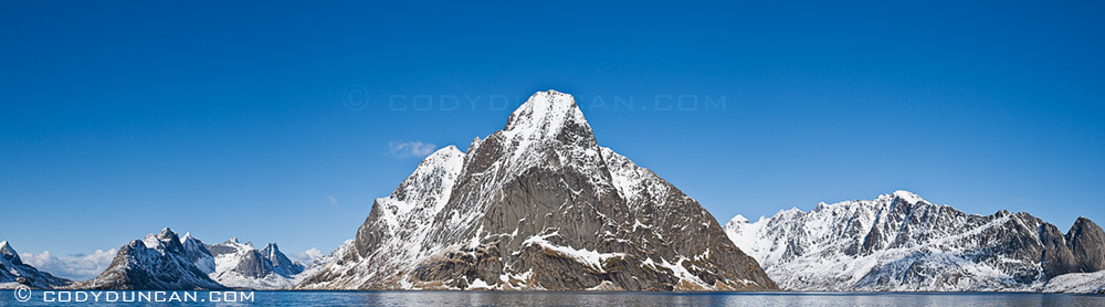 Kjerkefjorden and mountains in winter, Reine, Lofoten islands, Norway - Panoramic landscape photo