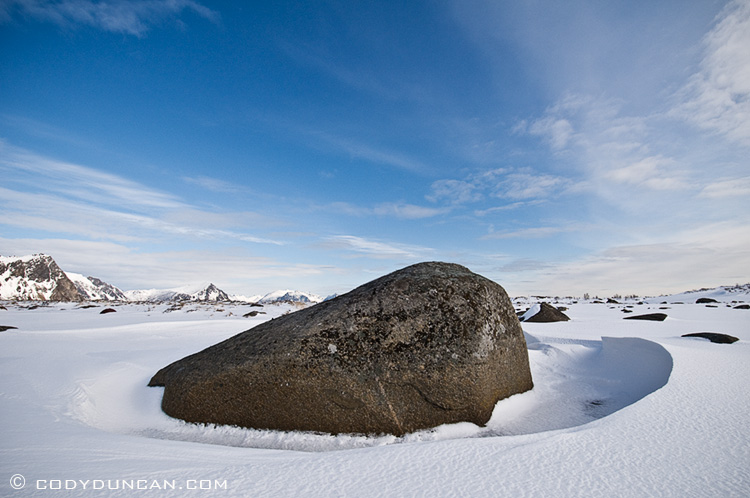 Landscape stock photo: Snow covered winter landscape, Lofoten islands, Norway