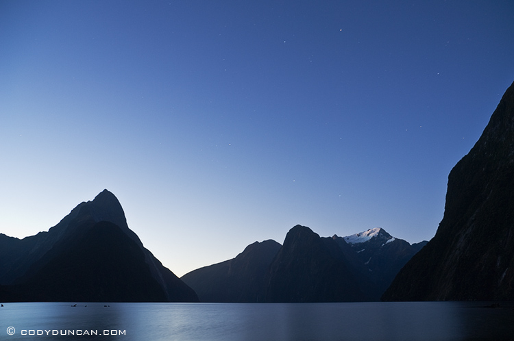 Night photography: Clear night sky over Milford sound, New Zealand