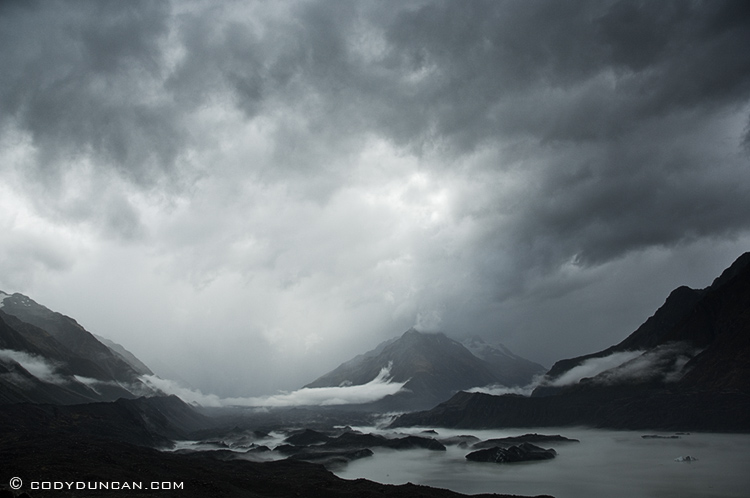 Storm over Tasman glacier and lake, Mount Cook national park, New Zealand
