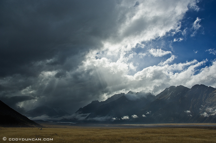 Clearing storm over mountains and Tasman valley, Mount Cook national park, New Zealand