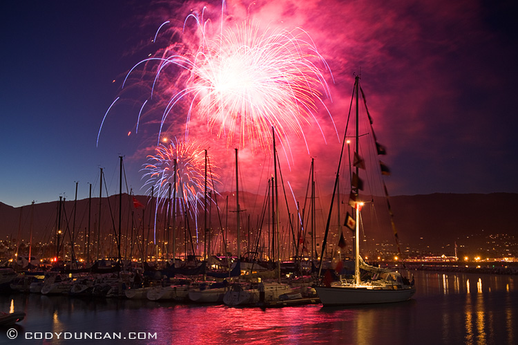 Santa Barbara, California - 4th of July fireworks over harbor