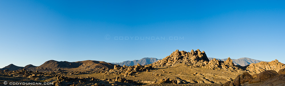 Panoramic landscape stock photography: Alabama Hills, Owen's valley, California