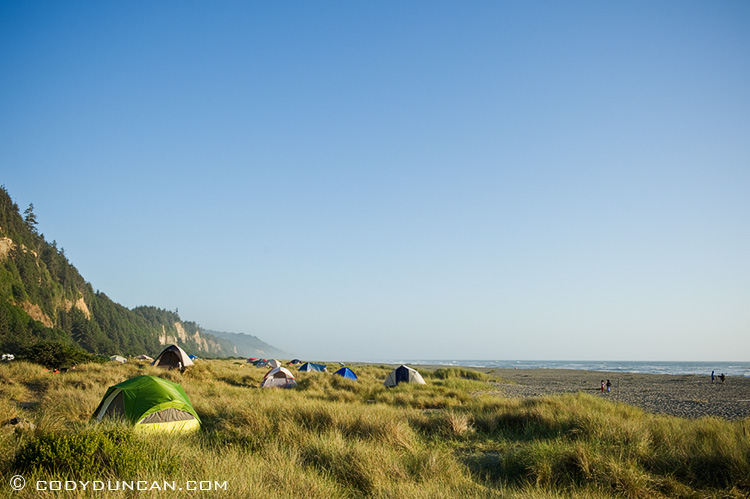Prairie Creek Redwoods state park, California - tents among sanddunes at Gold Bluffs Beach Campground