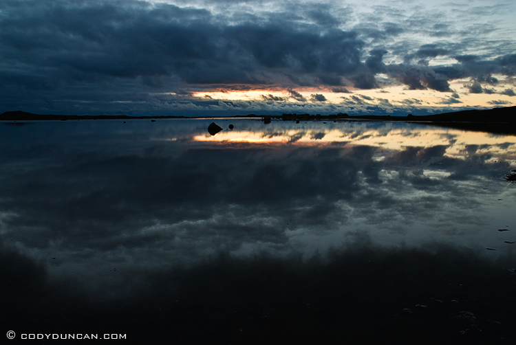 Lofoten islands Norway landscape photography: Reflection of clouds in water, Kvalnes