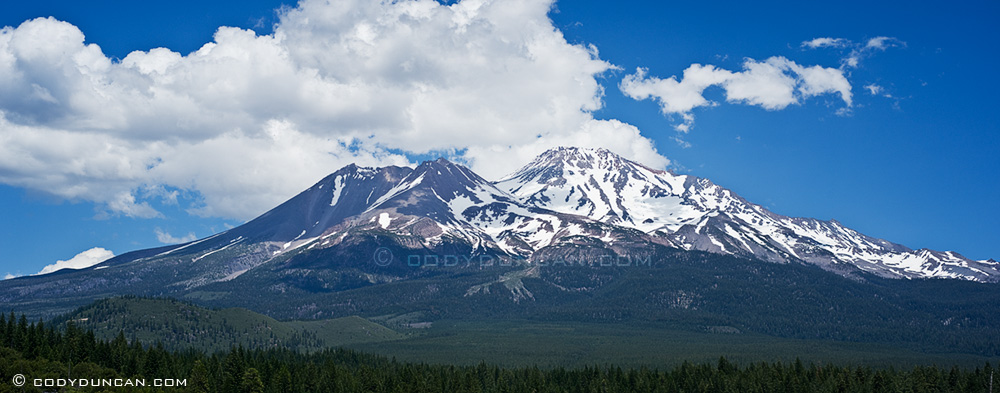 Panoramic landscape photography Nikon d700 85mm tilt-shift lens - Mount Shasta, California