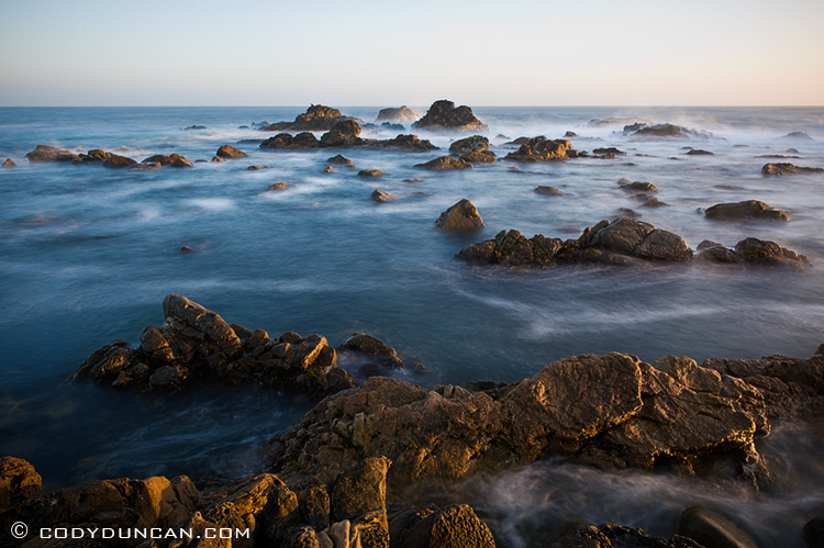 Rocky coastline at sunset, Salt Point state park, California