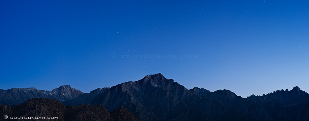 Night panoramic landscape photography Nikon d700 85mm tilt-shift lens: Sierra Nevada Mountains, California