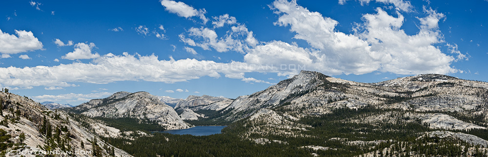 Panoramic photo of Tenaya lake and high country, Yosemite national park, California