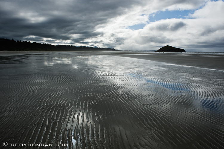 Travel landscape stock photography: dramatic clouds over Long Beach, Tofino, Vancouver Island, British Columbia
