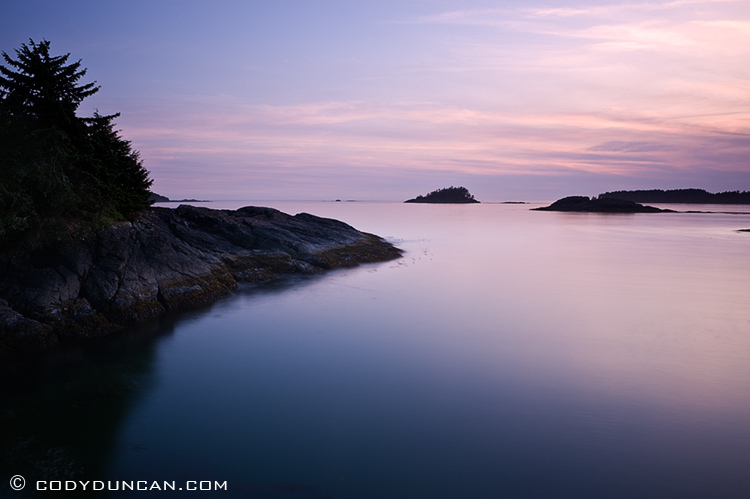 Travel landscape stock photography: sunset at Mackenzie beach, Tofino, Vancouver Island, British Columbia, Canada