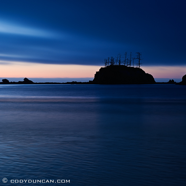 Landscape travel stock photography: beach at sunset cove, Central Oregon coast.