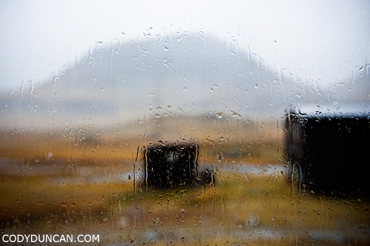 Kungsleden sweden travel photography: view out rain covered window