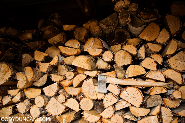 Kungsleden sweden travel photography: firewood and axe