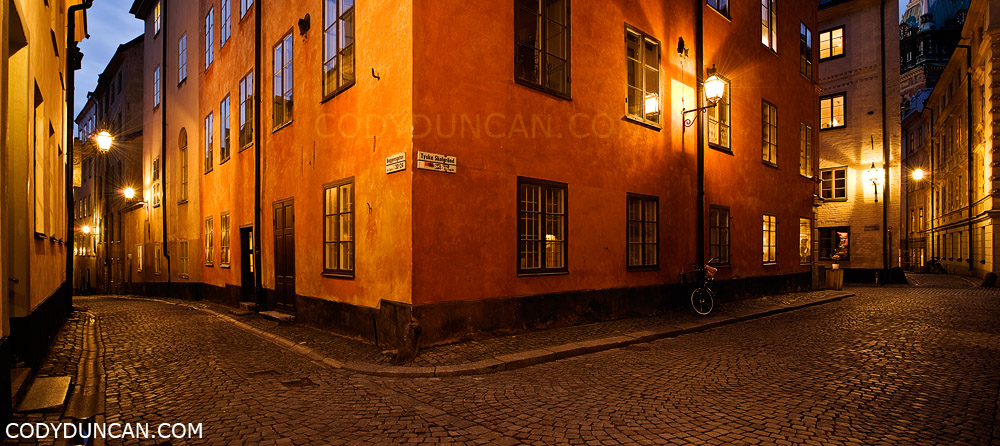 Stockholm, Sweden travel photography: Gamla stan (old town) cobble stone streets at night