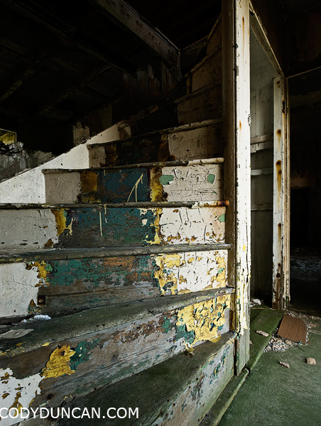 Staircase in abandoned derelict building, South Ronaldsay, Orkney, Scotland