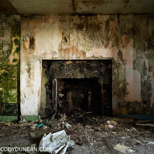living room of abandoned house, South Ronaldsay, Orkney, Scotland