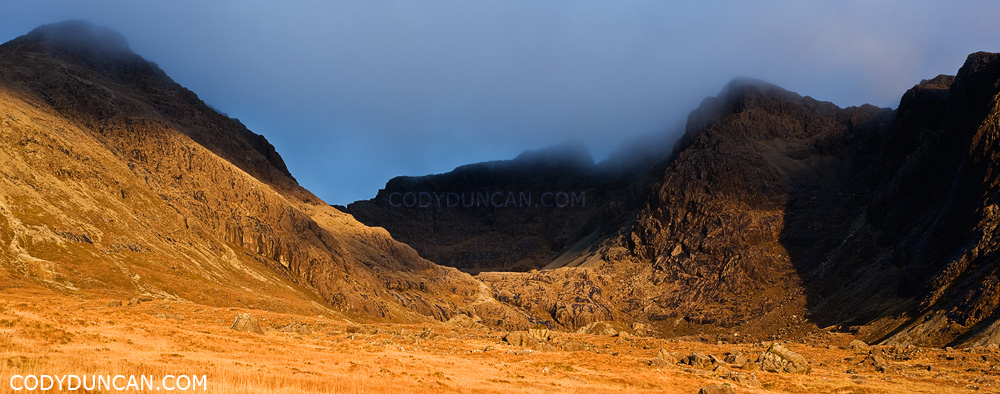 Panoramic landscape photography - Black Cuillin Hills, Glenbrittle, Isle of Skye, Scotland