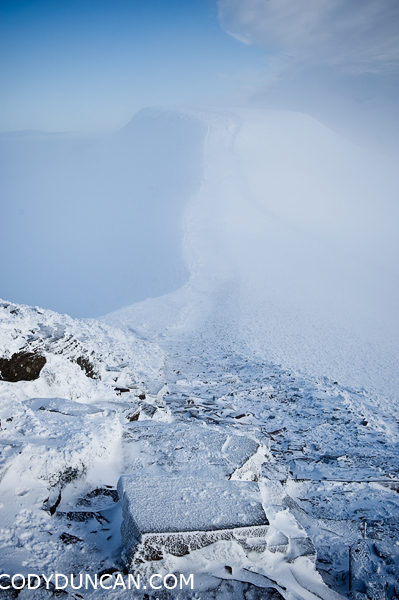 Brecon beacons national park winter snow december 2009.  Pen Y Fan in clouds