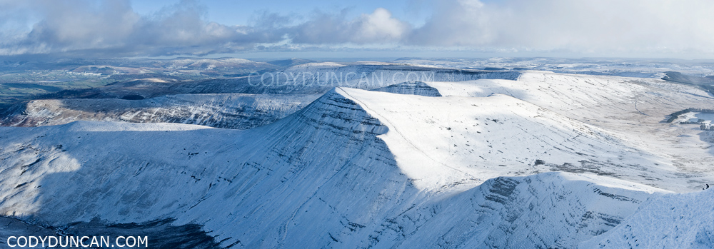 Brecon beacons national park winter snow december 2009 Panoramic landscape photo